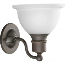 Progress P3161-20 - One Light Antique Bronze Etched Glass Bathroom Sconce