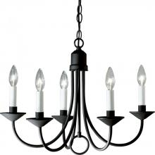 Progress P4008-31 - Five Light Textured Black White Finish Candle Sleeves Glass Up Chandelier