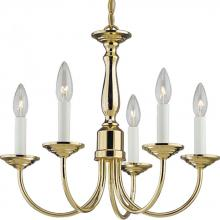 Progress P4009-10 - Five Light White Finish Candle Sleeves Glass Polished Brass Up Chandelier