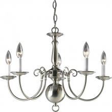 Progress P4346-09 - Five Light Brushed Nickel White Finish Candle Sleeves Glass Up Chandelier