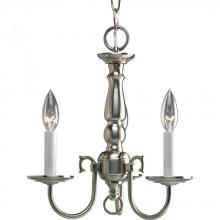 Progress P4354-09 - Three Light Brushed Nickel White Finish Candle Sleeves Glass Up Chandelier