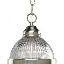 Progress P5080-09 - One Light Brushed Nickel Clear Prismatic Glass Down Pendant
