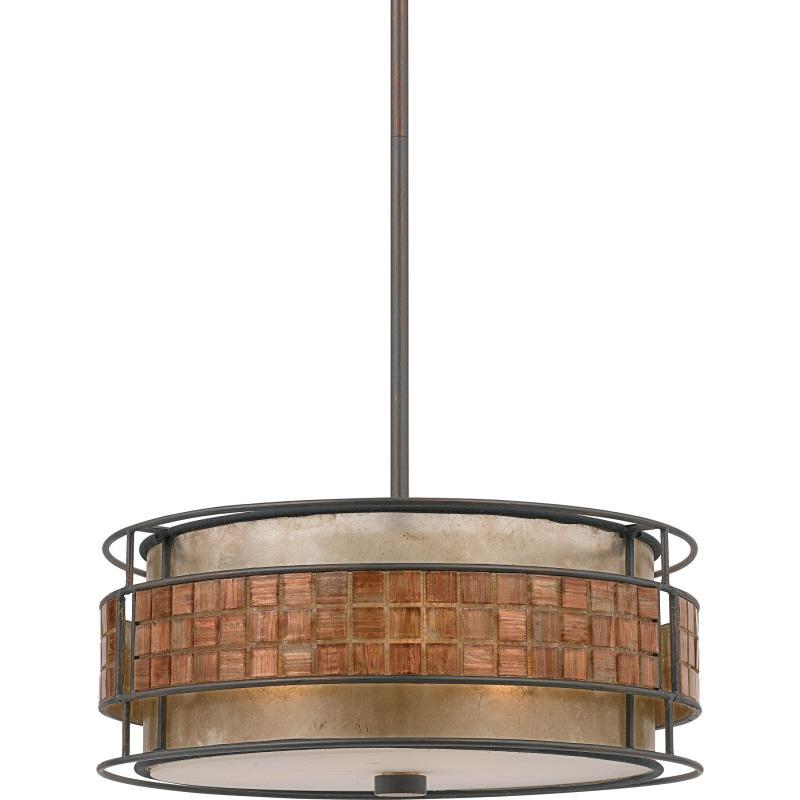 704u three light renaissance copper mica shade drum shade pendant