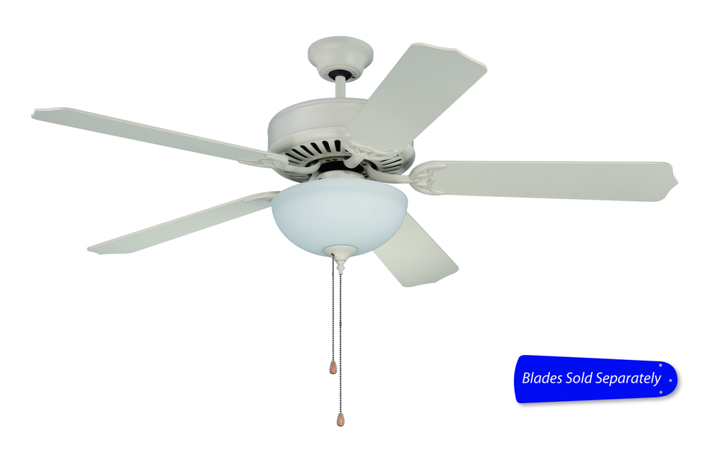 "Pro Builder 201 52"" Ceiling Fan with Light in Antique White (Blades Sold Separately)"