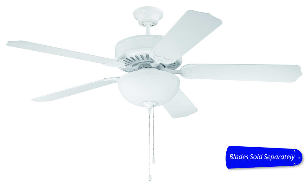 "Pro Builder 201 52"" Ceiling Fan with Light in White (Blades Sold Separately)"