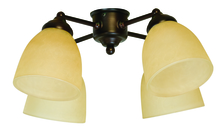 Craftmade LK400CFL-AG - 4 Light Universal Fan Light Kit in Aged Bronze Textured with Tea-Stained Glass
