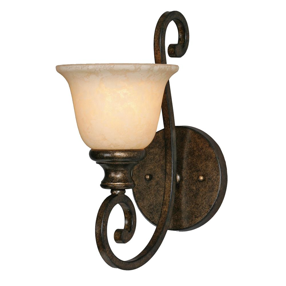 Heartwood 1 Light Wall Sconce in Burnt Sienna with Tea Stone Glass