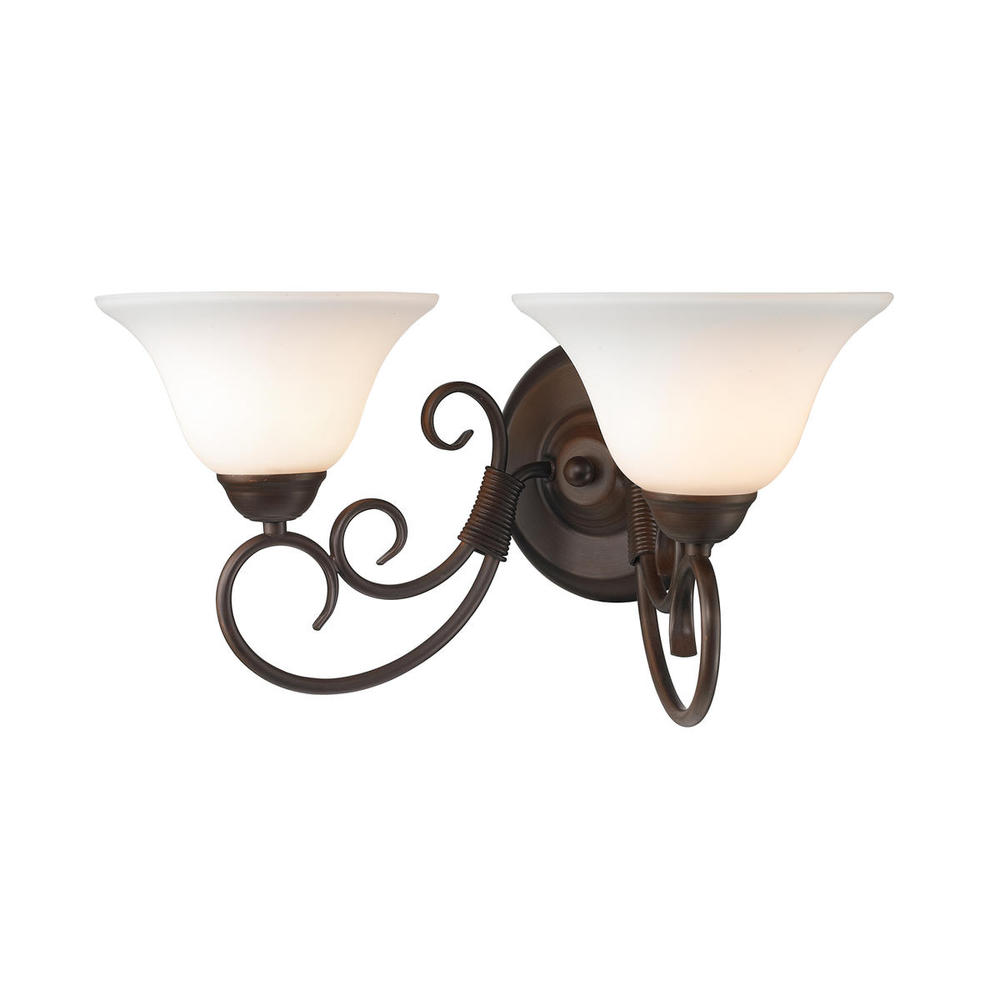 Homestead 2 Light Bath Vanity in Rubbed Bronze with Opal Glass