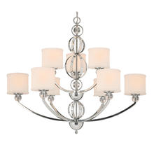 Golden Canada 1030-9 CH - Cerchi 2 Tier - 9 Light Chandelier in Chrome with Etched Opal Glass