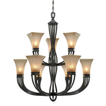Golden Canada 1850-9 RT - Genesis 2 Tier - 9 Light Chandelier in Roan Timber with Evolution Glass
