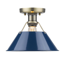 Golden Canada 3306-FM AB-NVY - Orwell AB Flush Mount in Aged Brass with Navy Blue Shade