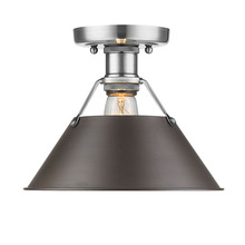 Golden Canada 3306-FM PW-RBZ - Orwell PW Flush Mount in Pewter with Rubbed Bronze Shade