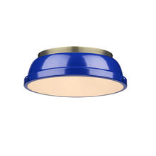 "Golden Canada 3602-14 AB-BE - Duncan 14"" Flush Mount in Aged Brass with a Blue Shade"