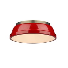 "Golden Canada 3602-14 AB-RD - Duncan 14"" Flush Mount in Aged Brass with a Red Shade"
