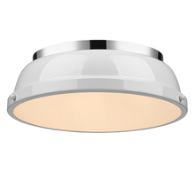 "Golden Canada 3602-14 CH-WH - Duncan 14"" Flush Mount in Chrome with a White Shade"