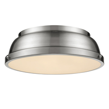 "Golden Canada 3602-14 PW-PW - Duncan 14"" Flush Mount in Pewter with a Pewter Shade"
