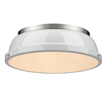 "Golden Canada 3602-14 PW-WH - Duncan 14"" Flush Mount in Pewter with a White Shade"