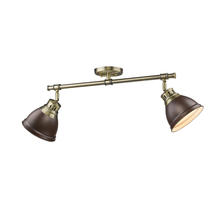 Golden Canada 3602-2SF AB-RBZ - Duncan 2 Light Semi-Flush in Aged Brass with Rubbed Bronze Shades