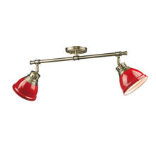 Golden Canada 3602-2SF AB-RD - Duncan 2 Light Semi-Flush in Aged Brass with Red Shades