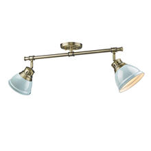 Golden Canada 3602-2SF AB-SF - Duncan 2 Light Semi-Flush in Pewter with Seafoam Shades