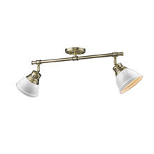 Golden Canada 3602-2SF AB-WH - Duncan 2 Light Semi-Flush in Aged Brass with White Shades