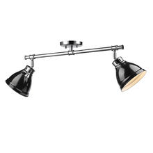 Golden Canada 3602-2SF CH-BK - Duncan 2 Light Semi-Flush in Chrome with Black Shades