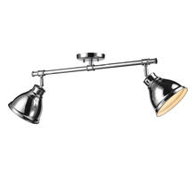 Golden Canada 3602-2SF CH-CH - Duncan 2 Light Semi-Flush in Chrome with Chrome Shades