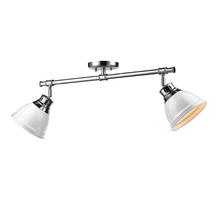 Golden Canada 3602-2SF CH-WH - Duncan 2 Light Semi-Flush in Chrome with White Shades