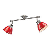 Golden Canada 3602-2SF PW-RD - Duncan 2 Light Semi-Flush in Pewter with Red Shades