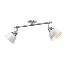 Golden Canada 3602-2SF PW-WH - Duncan 2 Light Semi-Flush in Pewter with White Shades