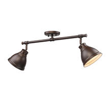 Golden Canada 3602-2SF RBZ-RBZ - Duncan 2 Light Semi-Flush in Rubbed Bronze with Rubbed Bronze Shades