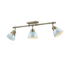 Golden Canada 3602-3SF AB-SF - Duncan 3 Light Semi-Flush - Track Light in Aged Brass with Seafoam Shades