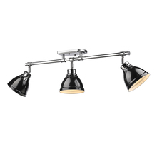 Golden Canada 3602-3SF CH-BK - Duncan 3 Light Semi-Flush - Track Light in Chrome with Black Shades