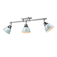 Golden Canada 3602-3SF CH-SF - Duncan 3 Light Semi-Flush - Track Light in Chrome with Seafoam Shades