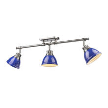 Golden Canada 3602-3SF PW-BE - Duncan 3 Light Semi-Flush - Track Light in Pewter with Blue Shades