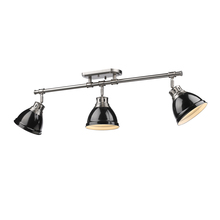 Golden Canada 3602-3SF PW-BK - Duncan 3 Light Semi-Flush - Track Light in Pewter with Black Shades
