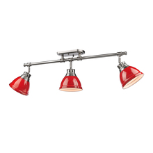 Golden Canada 3602-3SF PW-RD - Duncan 3 Light Semi-Flush - Track Light in Pewter with Red Shades