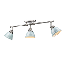 Golden Canada 3602-3SF PW-SF - Duncan 3 Light Semi-Flush - Track Light in Pewter with Seafoam Shades