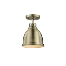 Golden Canada 3602-FM AB-AB - Duncan Flush Mount in Aged Brass with a Aged Brass Shade