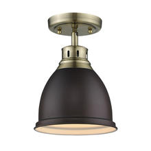 Golden Canada 3602-FM AB-RBZ - Duncan Flush Mount in Aged Brass with a Rubbed Bronze Shade