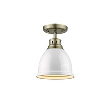 Golden Canada 3602-FM AB-WH - Duncan Flush Mount in Aged Brass with a White Shade