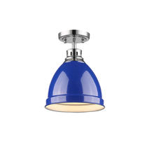 Golden Canada 3602-FM CH-BE - Duncan Flush Mount in Chrome with a Blue Shade