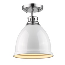Golden Canada 3602-FM CH-WH - Duncan Flush Mount in Chrome with a White Shade