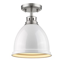 Golden Canada 3602-FM PW-WH - Duncan Flush Mount in Pewter with a White Shade