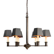 Golden Canada 5907-6 CDB-BLK - Smithsonian Bradley 6 Light Chandelier in Cordoban Bronze with Black Shades