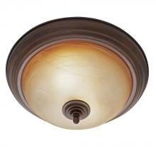 Golden Canada 6005-13 RBZ - Lancaster Flush Mount in Rubbed Bronze with Antique Marbled Glass