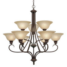 Golden Canada 6005-9 RBZ - Lancaster 2 Tier - 9 Light Chandelier in Rubbed Bronze with Antique Marbled Glass