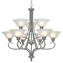 Golden Canada 6005-9 PW - Lancaster 2 Tier - 9 Light Chandelier in Pewter with Marbled Glass