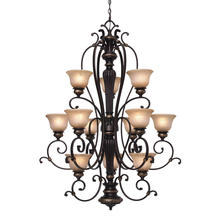 Golden Canada 6029-363 EB - Jefferson 3 Tier - 12 Light Chandelier in Etruscan Bronze with Antique Marbled Glass