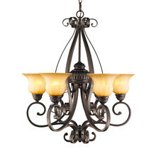 Golden Canada 7116-6 LC - Mayfair 6 Light Chandelier in Leather Crackle with Cr�me Brulee Glass